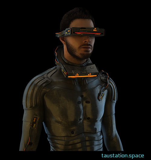 A male person with brown short hair and designer stubble, wearing a mud-colored protection suit. Similar to using glasses, he looks through an electronic device with several LEDs.