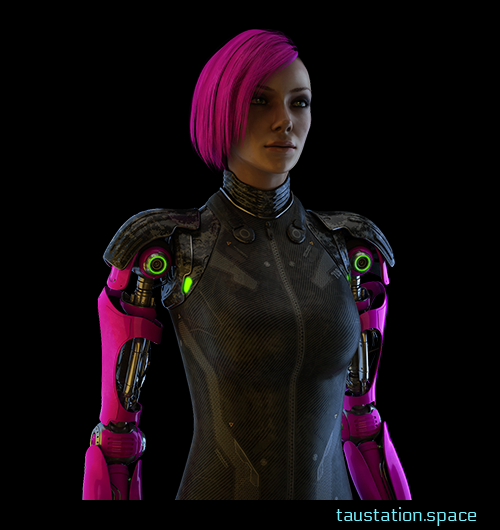 A serious looking woman with pink hair and two bionic arms also in the same pink color.