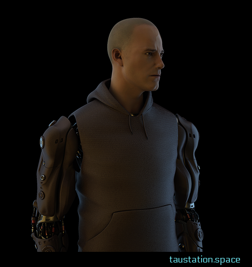 A white male person with 1 mm hair cut, wearing a brown hoodie. He has two bionic arms