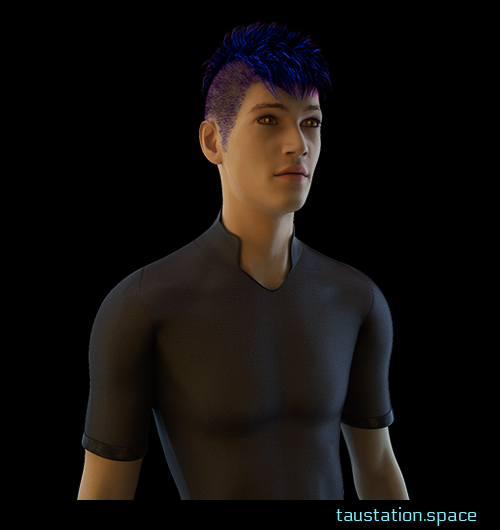 "A slim tall male person with brown eyes and a simple brown shirt. He has a mohawk ""punk"" haircut and blue to purple colored hair."