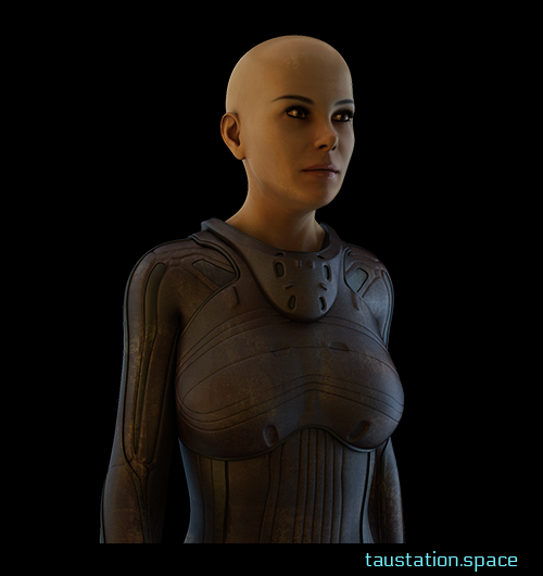 A slim female avatar without hair, brown eyes and a brown protection suit.