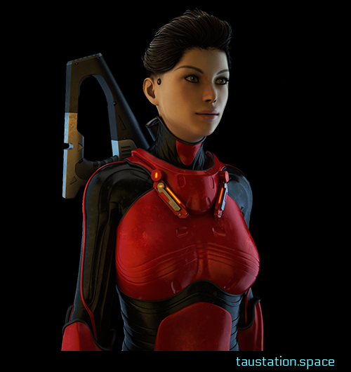 A white female person with brown hair and undercut hairstyle, wearing some carbon protection suit in black and red. She has weapon on her back.