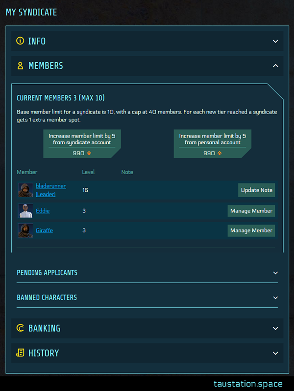 "UI snipped of ""My Syndicate"", showing the member list with avatars displayed on the left side next to the according player name."