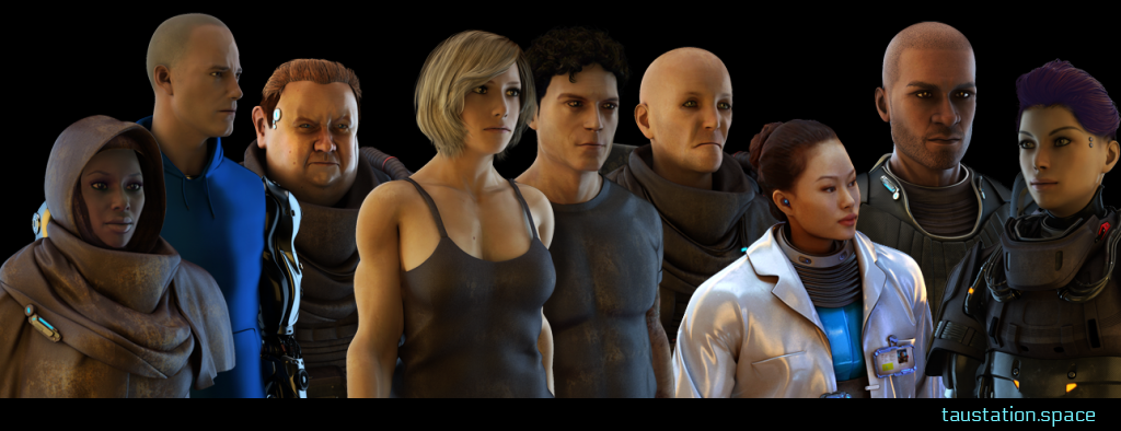 A group of Tau Station characters in a collage.