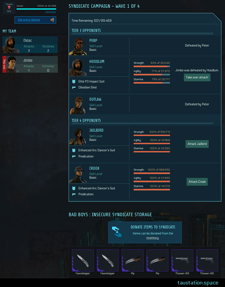 UI of a syndicate campaign, showing team members in recent fighters on the left side, while 80% of the screen is used by the list of enemies in the middle, showing their avatars, names, levels, stats and if they are under attack and by whom, if they got defeated and so on.