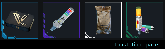 A collage showing items in a row: VIP pack, stims and a ration.
