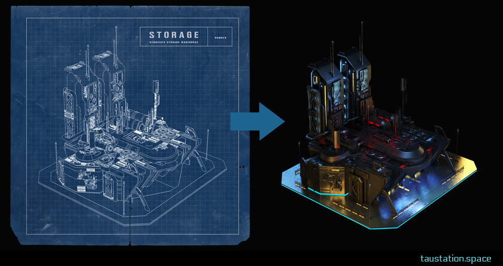 A 'storage' blueprint showing a grid model of the building and the 3D rendered version next to it.