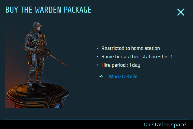 Pop-Up of the Warden Package with the option to buy the service for 1 day. In this example, the tier level is 1 as it's offered on Tau Station.