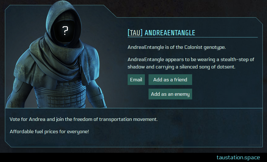 Screenshot of Andrea Entangle's public profile page