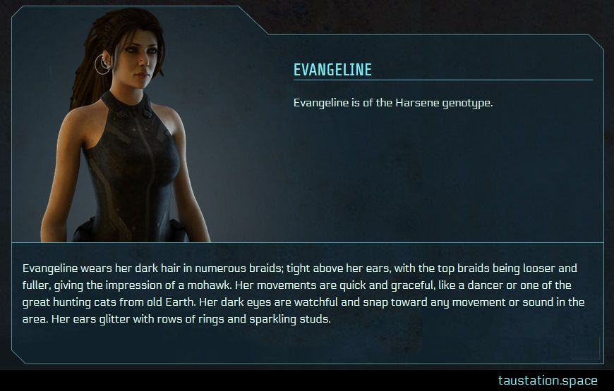 The profile UI of Evangeline. She is an athletic woman, approx. 30 years old. Her brown eyes stand out because her long eyelashes and use of kohl. Her long brown dreadlocks are tied to a pony tail. She has a nostril piercing and many earrings of different sizes. She's wearing a greyish brown sleeveless bodysuit and a black ammunition belt.