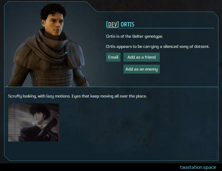 Screenshot of Ortis' public profile page