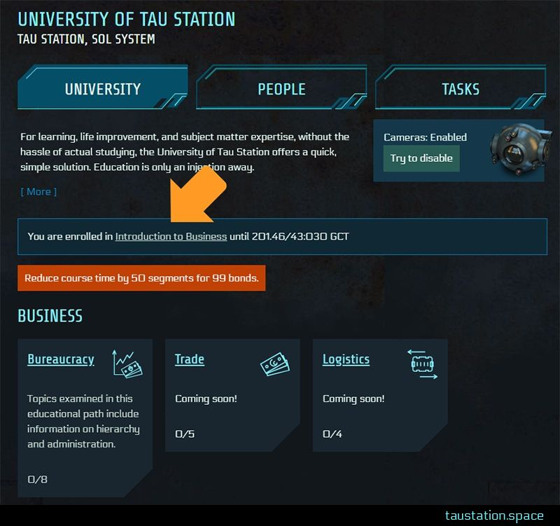 "The updated UI of the main University page. An arrow points at the new information box above the list of classes, in this example it states ""You are enrolled in Introduction to Business until 201.46/43:030 GCT"". Below this box is a button to reduce course time by 50 segments for 99 bonds."