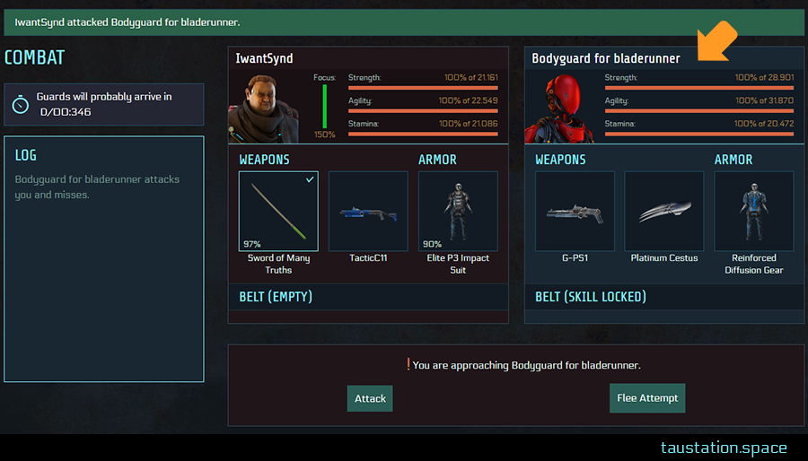 "Combat screen of the attacker with the notification ""IwantSynd attacked Bodyguard for bladerunner."" The Bodyguard is shown as defender instead of the attacked person ""Bodyguard for bladerunner""."