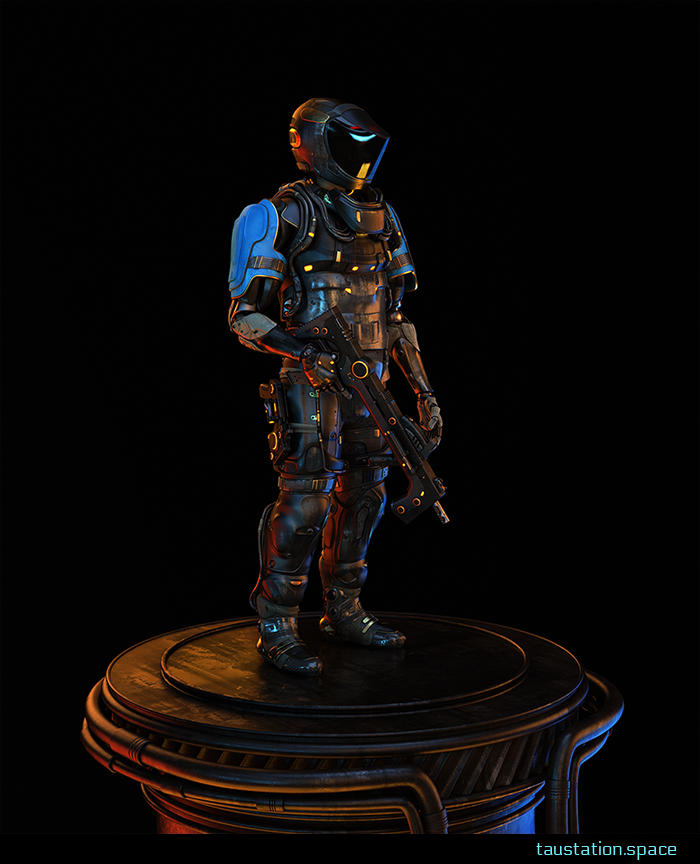 The Escort: wearing full-body armor black-metal with blue detail panels, and a whole-head helmet with a black visor. He carries a bulky double-handle rifle with gold detail markings.