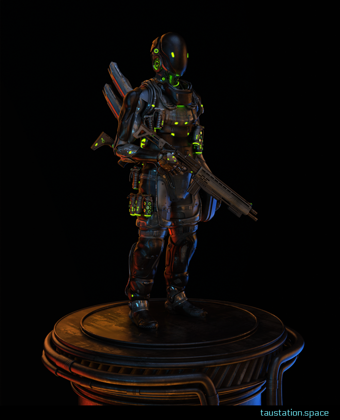 The Sentinel: a well-armed bodyguard stands on a plinth, wearing black-metal full-body armor with bright-green highlighting. Around her belt are various grenades and ammo items. She carries a long black rifle with an extended stock.
