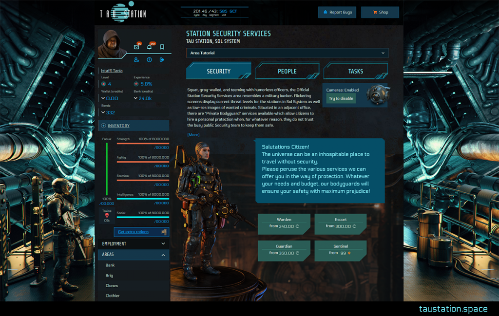 Screenshot of the Security at Tau Station with an armed bodyguard standing on a rusty metallic platform while 4 buttons give access to different bodyguard package details.