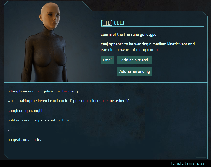 Screenshot of ceej's public profile page