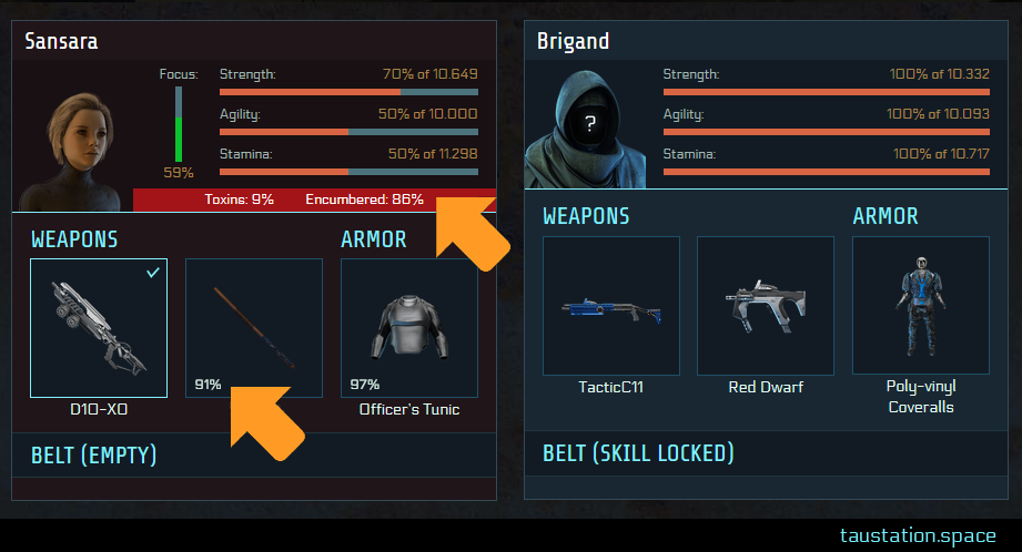 Combat UI, 2 arrows pointing at the UI additions. Gear condition: the rifle has 91% right now. You are 28% encumbered.