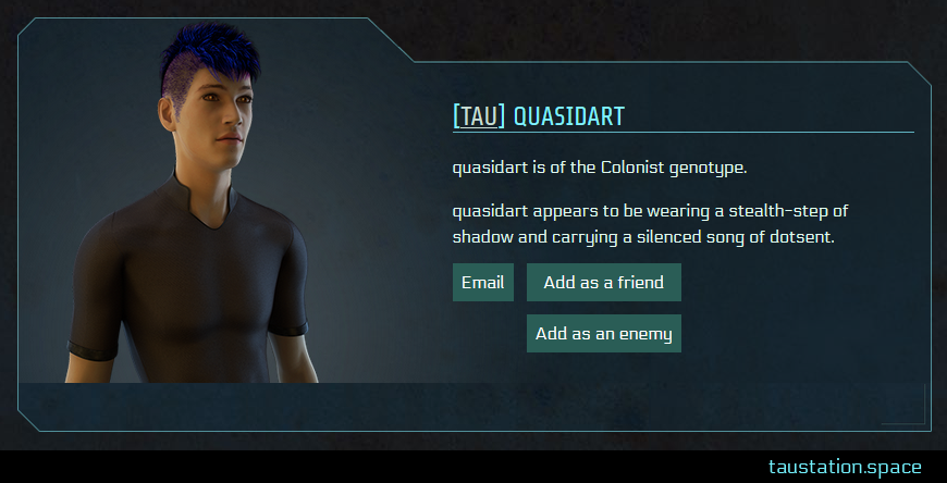 Screenshot of quasidart's public profile page
