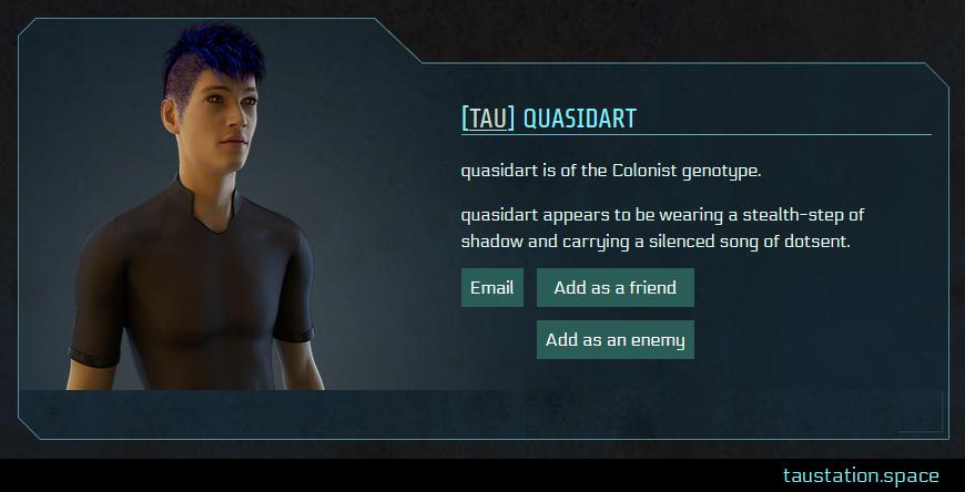 Screenshot of quasidart's public profile page
