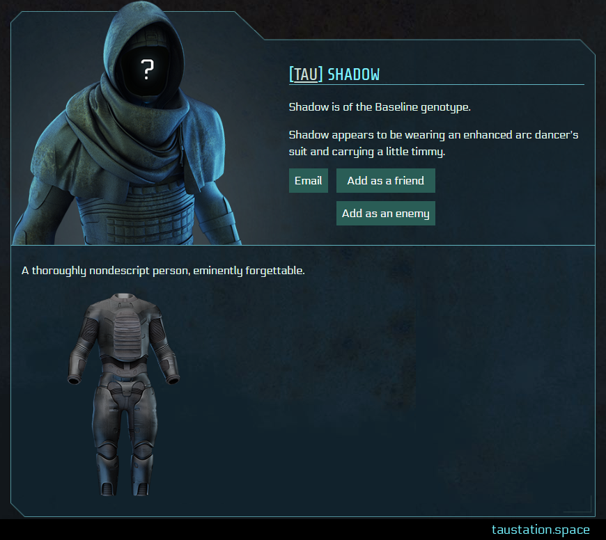 Screenshot of Shadow's public profile page
