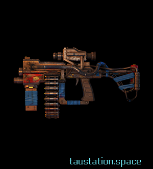 A rusty handcrafted gun with a visor and 2 ammunition sources: close to the barrel is a magazine slot and in the middle is an additional ammunition belt. Part of the construction are also several wires and tubes which seem to be a hydraulic system. Blue duct tape is used on several parts like the barrel.