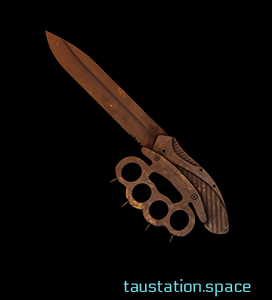 The epic Battle Blade: Trailblazing Blazers is the result of a knuckleduster which has been forged to the grip of a brown rusty knife with a blade of 20 cm.
