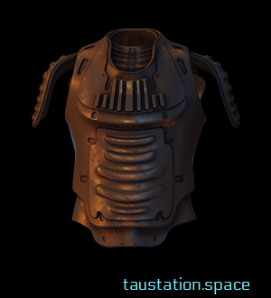 The Enhanced Combat Vest has no sleeves, but some shoulder protectors made of leather. Thin metal discs have been attached, many are bent or misshapen, and a few are missing.