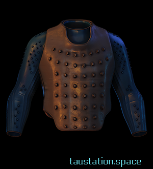 The Spiked Leather Jacket is a thick leather jacket, with spikes along the blue sleeves, chest and shoulders. The breast plate is made of brown leather, also having spikes.