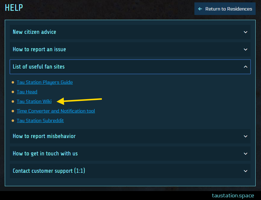 """UI snippet of the help window that contains various topics like """"New Citizen advice"""", """"How to report an issue"""", etc. The third topic """"list of useful fan sites"""" is collapsed and an arrow is pointing at the link for """"Tau Station Wiki""""."""