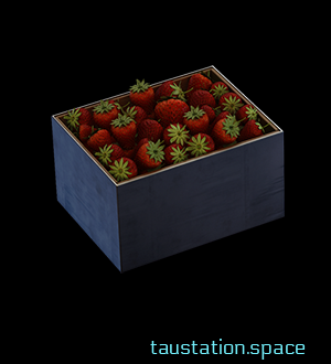 A small grey box, full of fresh red strawberries with their characteristic green leaves.