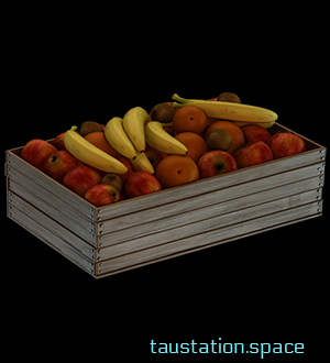 A light gray wooden fruit box with many red apples and 6 single yellow bananas on top.