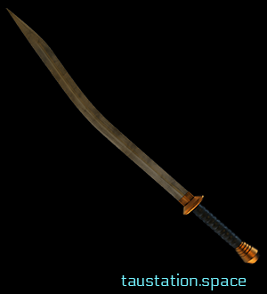 A sword with a long, curved blade and a black handle decorated with gold highlights.