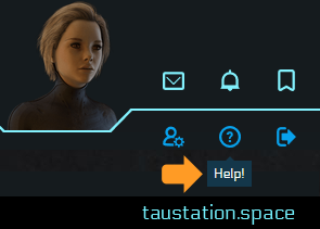 UI snippet of the information panel with a female avatar and the icons for mails, events, friends & foes list, settings, help and logout. An arrow is pointing at the help icon.