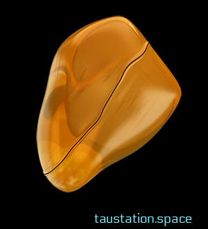 It looks a bit like a small piece of amber, but with a lesser tone of orange. Its shape is close to corn kernel.