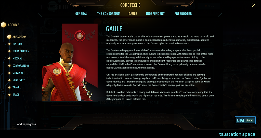 """UI of a topic chosen. The archive's main category navigation is on the left, a big bullet point indicates that the main topic """"Affiliation"""" is selected. The upper part of the screen contains the headline """"CORETECHS"""", again amber-colored with the digital ornament. Below is is blue line with the according sub-topics: General, Consortium, Gaule (amber-colored, because it's displayed), Independent, Freebooter. The content display takes around 75% of the screen in the middle. On the left is a huge picture with an NPC wearing a red robe, in front of the red Gaule flag, next is the text with details and background information about this affiliation."""