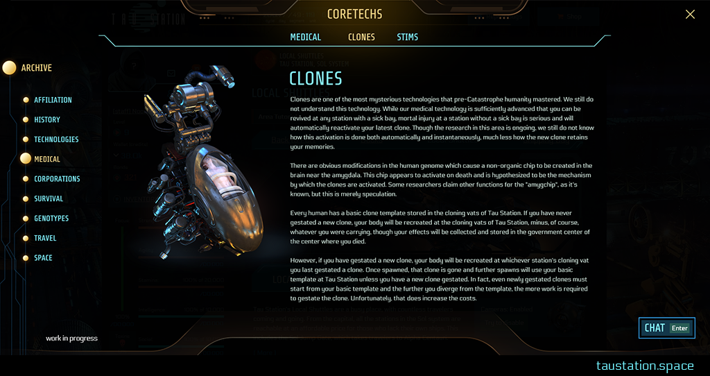 "Another example, similar to the picture before, but this time, the main topic ""Medical"" is chosen in the main navigation. At the top, we have three sub-topics: Medical Introduction, Clones, and Stims. The amber-colored text indicates that ""Clones"" is selected. Therefore, we have a big picture of a cloning pod while the according detail information is next to it."