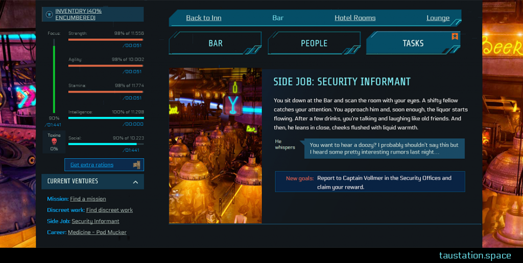 "A Side Job at the Bar, with Task Tab being active. A small bar picture indicates the place you're at, next to it, the headline states ""Side Job: Security Information"". A few narrative text lines, followed by a speech bubble and your new goal to report to Captain Vollmer in the Security Offices."
