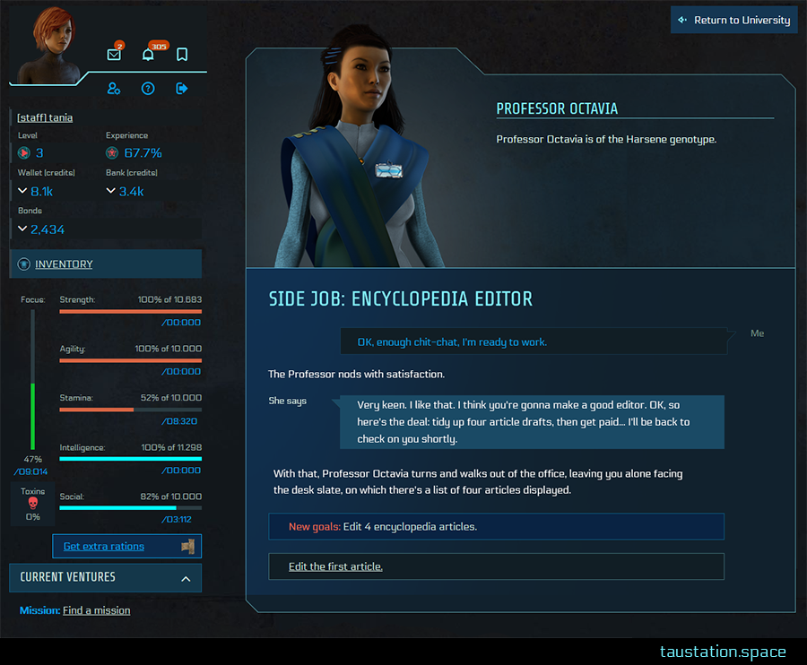 "NPC profile of the female Professor Octavia with a big picture and information on top. Instead of the NPC's character description, the new Side Job layout is displayed in the lower part, similar to what you know from missions. The headline states ""Side Job: Encyclopedia Editor"", followed by narrative text, a speech bubble of the Asian lady and a new goal which informs you of editing 4 encyclopedia articles."