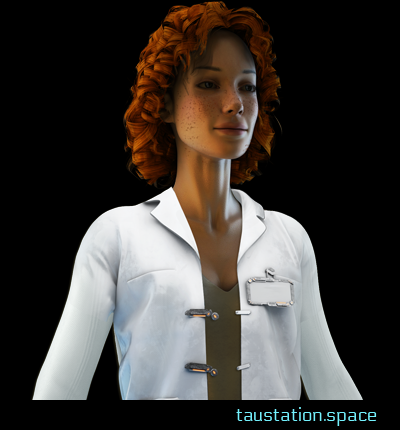A thin female, around 30 years old with red curly hair and a lot of frackles in her face. She has green eyes and full red lips, wearing a white doctor's coat and a beige shirt.