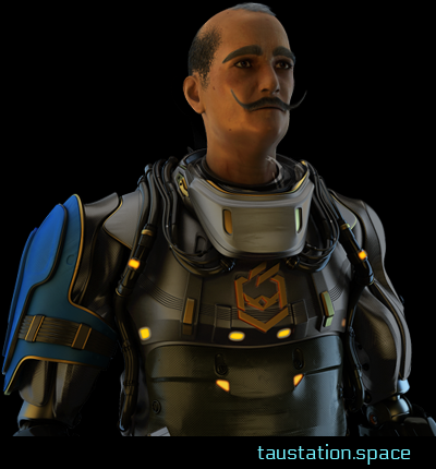 A male person, wearing a heavy metallic suit with the emblem of the Consortium. He is around mid-40, has nearly a bald head, but massive eye brows and an impressive brown handlebar mustache.