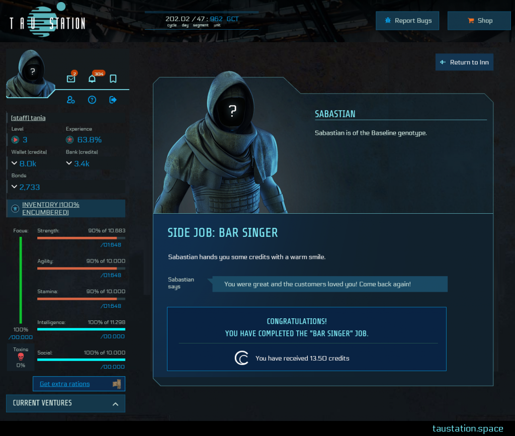 """An NPC profile of Sebastian, similar to the previous picture, but this time with the Headline """"Side Job: Bar Singer"""", a final statement of the NPC about your completion. Below is a prominent blue box listing your reward with """"Congratulations! You have the completed the """"Bar Singer"""" Job. You have received 13.50 credits""""."""