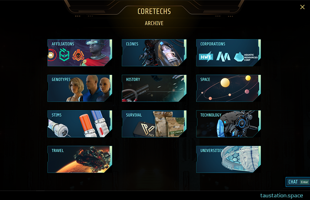 New full-screen UI of the Archive. Big selection cards on the main page grant access to several topics. In each line there are 3 cards including artwork reflecting the content. The topics are: Affiliations, Clones, Corporations, Genotypes, History, Space, Stims, Survival, Technology, Travel, and Universities.