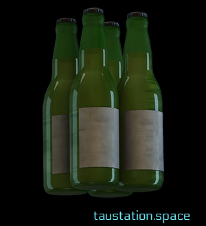 New 3D artwork for beer bottles: 4 glass bottles with crown caps and some greenish liquid inside, the bottle labels are empty.