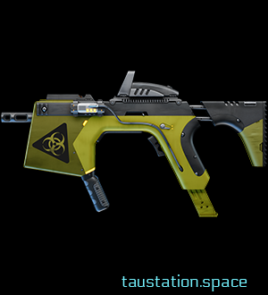 Biohazard is a short barrel rifle. It's eye catching due to its yellow color and big biohazard warning sign on the front.