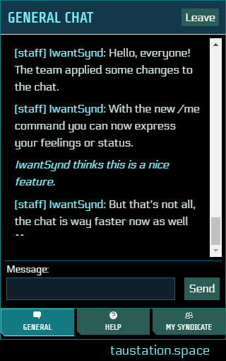 """Snippet of the chat with an example of the /me command. The text is written in italic and posted like a status statement. In our case it's about a Citizen names IwantSynd: """"IwantSynd thinks it is a nice feature."""""""