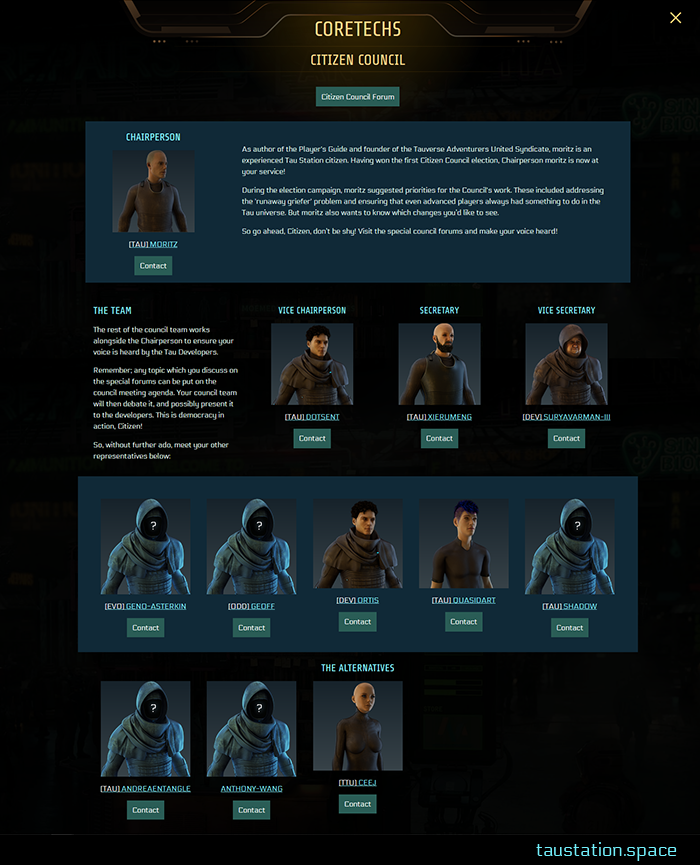 """The Citizen Council UI is also in full-screen mode. There is a button to access the Council forums, and all members are listed, exposing their avatars. You can get in touch with every single member by using the """"contact"""" button to send a private mail."""