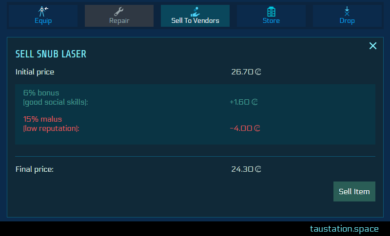 """Snippet of the """"sell to vendors"""" screen. Sell Snub Laser has an initial price of 27.70 credits, but you gain a 6% bonus due to good social skills = +1,60 credits. On the down side you have a 15% malus here due to low reputation, lowering your price by 4 credit. At the bottom is the result, your final price with 24.30 credits and the sell button next to it."""