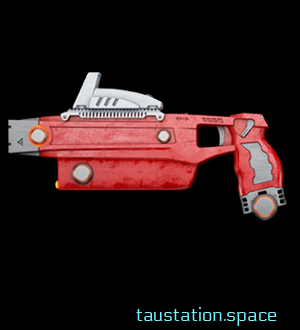 A simple red taser with long shape and a stainless steel aimer.