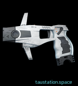 A quite futuristic white, but bit dirty taser with safety trigger.